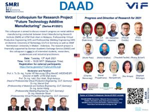 """Virtual Colloquium for Research Project """"Future Technology Additive Manufacturing"""" (Series #1/2021)"""