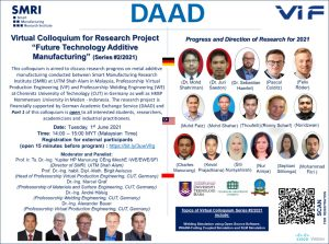 """Virtual Colloquium for Research Project """"Future Technology Additive Manufacturing"""" (Series #2/2021)"""