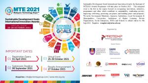 Sustainable Development Goals International Innovation Awards, MTE2021 Awards Programme, October 2021